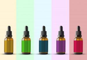 huile cbd dans différentes couleurs